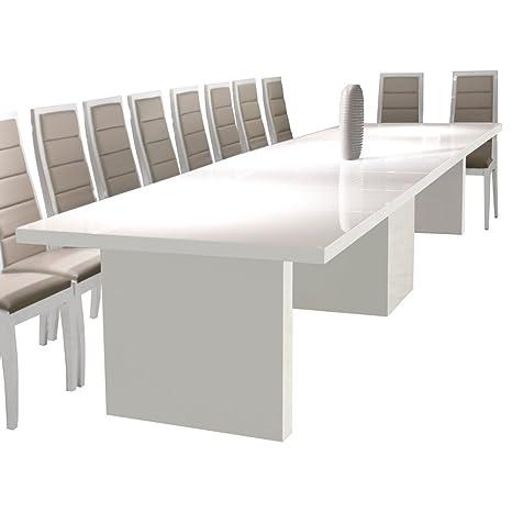 Amazon.com: Largo extensible – Mesa de comedor blanco lacado ...