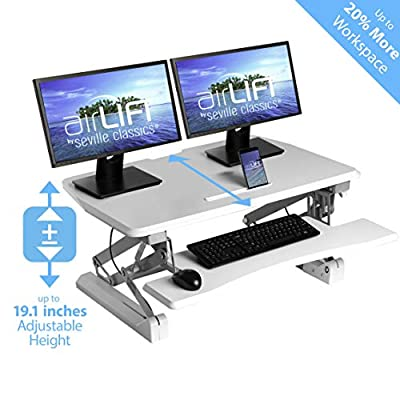 Seville Classics Adjustable Cubicle Corner Standing Desk Ergonomic Workstation with Keyboard Tray