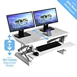 Seville Classics OFF65808 Airlift 36' Gas-Spring Height Adjustable Standing Desk Converter Workstation Ergonomic Dual Monitor Riser with Keyboard Tray and Phone/Tablet Holder, Full, White