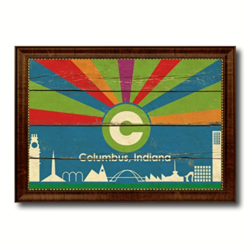 (Columbus City Indiana State Flag Vintage Canvas Print Brown Picture Frame Home Decor Wall Art Gifts - 21
