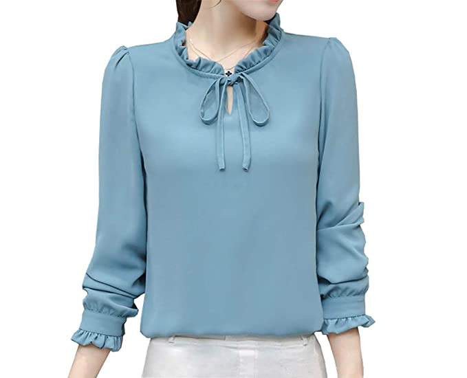 45cdbac0 Women's Chiffon Blouse Long Sleeve Elegant Shirt Korean Fashion Tops (US S  Petite (Tag