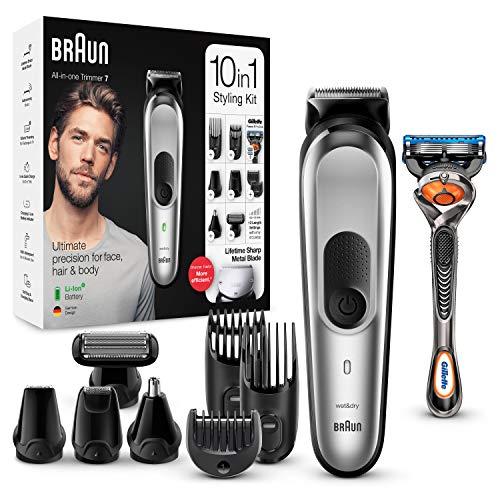 Braun MGK7220 – Recortadora 10 en 1, Máquina recortadora de barba, set de depilación corporal y cortapelos para hombre…