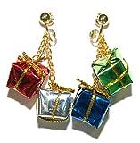 Multi Color Mini Foil Christmas Present Clip On Dangle Earrings (H008clip)