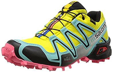Salomon Speedcross 3 GTX, Zapatillas de Trail Running para Mujer, Amarillo (Citrus-X / Bubble Blue / Madder Pink), 40 EU