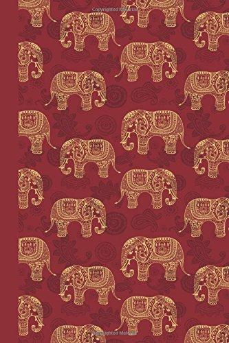 Sketchbook: Elephant Pattern (Red) 6x9 - BLANK JOURNAL NO LINES - unlined, unruled pages (Patterns & Designs Sketchbook Series)