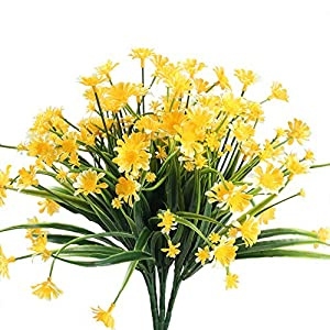 Nahuaa Fake Plants, 4PCS Artificial Daisy Flowers Greenery Bush Faux Plastic Wheat Grass Shrubs Table Centerpieces Arrangements Home Kitchen Office Indoor Outdoor Spring Decorations Yellow 79