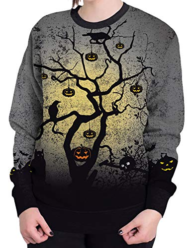Sister Amy Women's Halloween Crew Neck Pullovers Sweatshirts Hoodies Costume G-Halloween S -