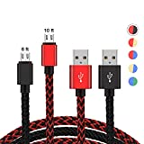 2 Pack PS4 Controller Charging Cable,Zwirelz Charging Cable for Xbox One Controller Nylon Braided Sync Cord Charger for Playstation 4 Dualshock 4 PS4 Slim/Pro, Android (Red+Black)