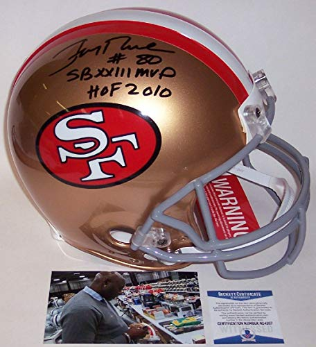 Jerry Rice Autographed Hand Signed San Francisco 49ers Throwback Full Size Authentic Pro Helmet - BAS ()