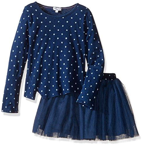 Indigo Print Skirt - Splendid Girls' Little Indigo Tutu Set Star Print, Dark Stone, 4/5