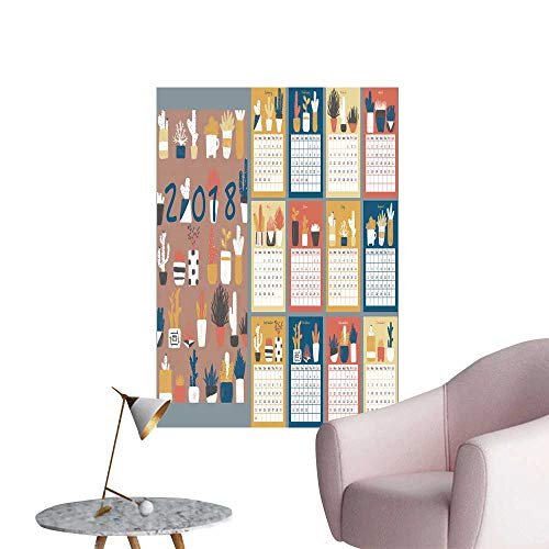 (SeptSonne Wall Stickers for Living Room Illustrations Table Calendar Template Vinyl Wall Stickers Print,32