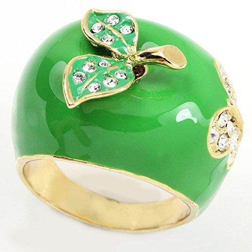 Yellow Green Enamel Ring - 2