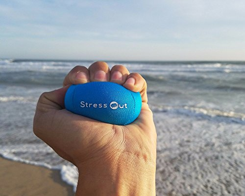 STRESS OUT Hand Therapy Stress Ball (2 Pack) Stress Relief Gel Squeeze Finger Exercises & Hand Strengthening Grip Exercises Hand Mobility & Restoration Stress Toy (Blue Skies & Titanium)