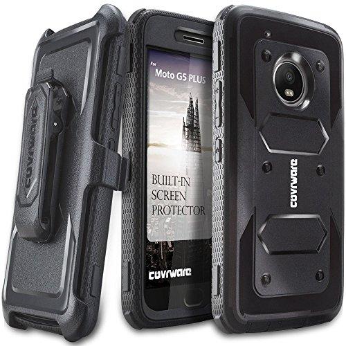 Moto G5 Plus Case, COVRWARE [Aegis Series] w/Built-in [Screen Protector] Heavy Duty Full-Body Rugged Holster Armor Case [Belt Swivel Clip][Kickstand] for Moto G5 Plus, Black