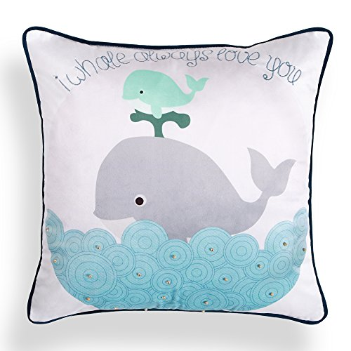 V&M VALERY MADELYN Velvet Decorative Pillow Covers 18x18 Inch Coastal Ocean Park Theme Pillow Cover Case for Sofa Couch, Embroidery Letters with Wooden Bead and Piping, 2018 New Arrival(Whale) (Sofa Sectional Square)