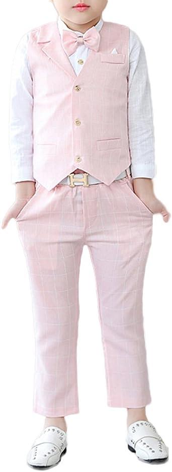 Niño Disfraz 3 Piezas, Chaleco Traje, Boda Traje, Sin Mangas Chalecos + Pantalones + Camisas