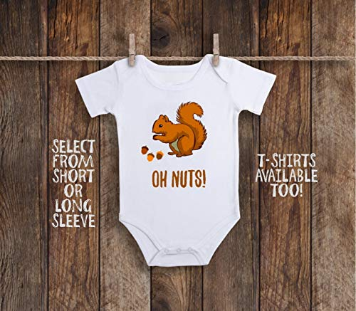 Funny Squirrel Oh Nuts Woodland Animal Toddler Kids Tee Shirt or Baby Bodysuit
