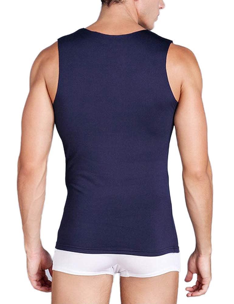 Warmfort Mens Lightweight Elastic ComfortSoft V-Neck Seamless Tank Top Sleeveless Undershirts