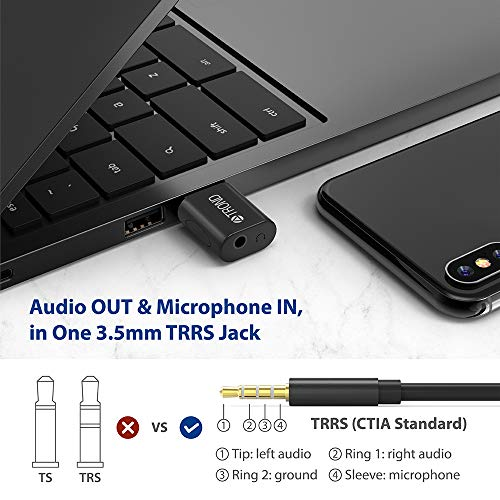 TROND External USB Audio Adapter Sound Card with One 3.5mm Aux TRRS Jack for Integrated Audio Out & Microphone in, Do Not Work for TV or Car