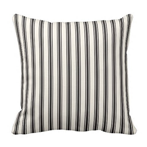 Classic Ticking Stripe Pattern Black and Cream Pillowcase Cushion Cover 18 x 18 Inches (Ticking Stripe Classic)