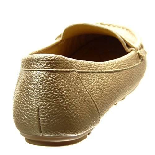 Gold Perforated Shoes cm Heel Angkorly 0 Women's Flat on Fashion Mocassins Slip YwOPEw