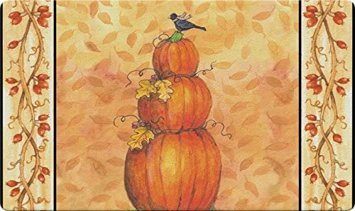 Toland Home Garden Pumpkin Tower 18 x 30 Inch Decorative Fall Autumn Floor Mat Bird Leaf Doormat