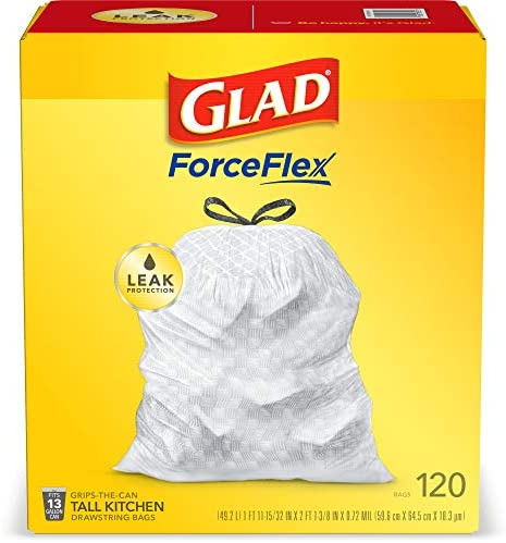 Glad ForceFlex Tall Kitchen Drawstring Trash Bags – 13 Gallon White Trash Bag, Unscented – 120 Count (Package May Vary)