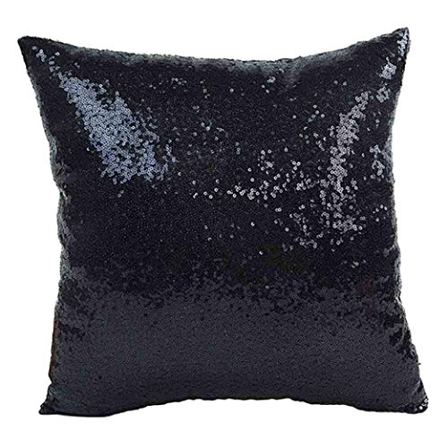 Napoo 2018 Glitter Sequins Pillow Case Cafe Home Decor Throw Cushion Covers (40cm40cm, Black) (Beedroom Furniture)