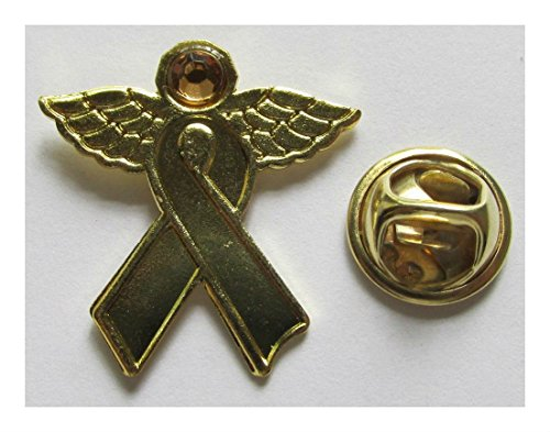 24 Gold Ribbon Angel Pins Childhood Cancer Awareness Party Favors Supplies -