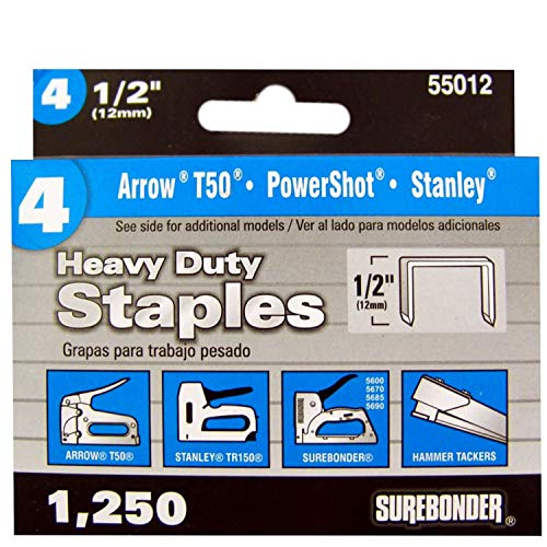 Surebonder 55012 Heavy Duty 1/2-Inch Length Staples, Arrow T50 Type, 1250 Count (Staple Gun Staples)
