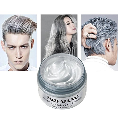 Temporary Silver Gray Hair Wax 4.23oz, Instant Hairstyle Mud Cream, Hair Pomades for Party, Cosplay, Nightclub, Masquerade, Halloween. for $<!--$9.99-->