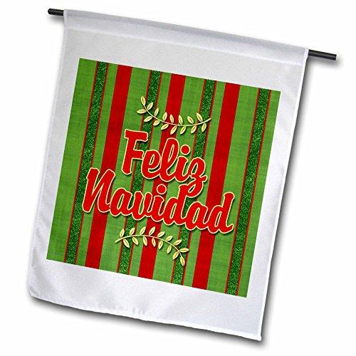 3dRose Feliz Navidad Spanish Festive Red & Green Striped Holiday Sprigs - Garden Flag, 18 by 27