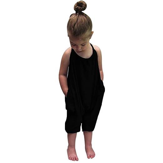 c30031ab0 Darkyazi Baby Summer Jumpsuits for Girls Kids Cute Backless Harem Strap  Romper Jumpsuit Toddler Pants Size