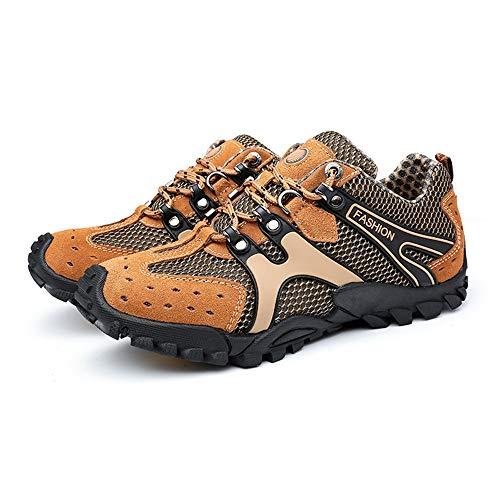 Cordones Sin Para Deportivas Marrón Escalada Eu Tamaño Ocasionales color Zapatillas Transpirables Con 45 Hombre Zapatos Qiusa Deslizamiento De Amarillo qHCxzwEtw