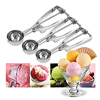 HQdeal Ice Cream Scoop Stainless Steel Set of 3 with Trigger Release for Cookies Fruits Small Medium Large