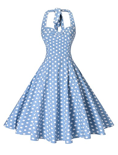 V Fashion Women 's Rockabilly 50s Vintage Polka Dots Halter Cocktail Swing Dress Blue White Dots -