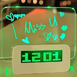 Krismile®New design 5 LED Message Board With Highlighter Digital Alarm Clock With 4 Port USB Hub(Green)