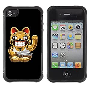 Hybrid Anti-Shock Defend Case for Apple iPhone 4 4S / Cat With Moustache