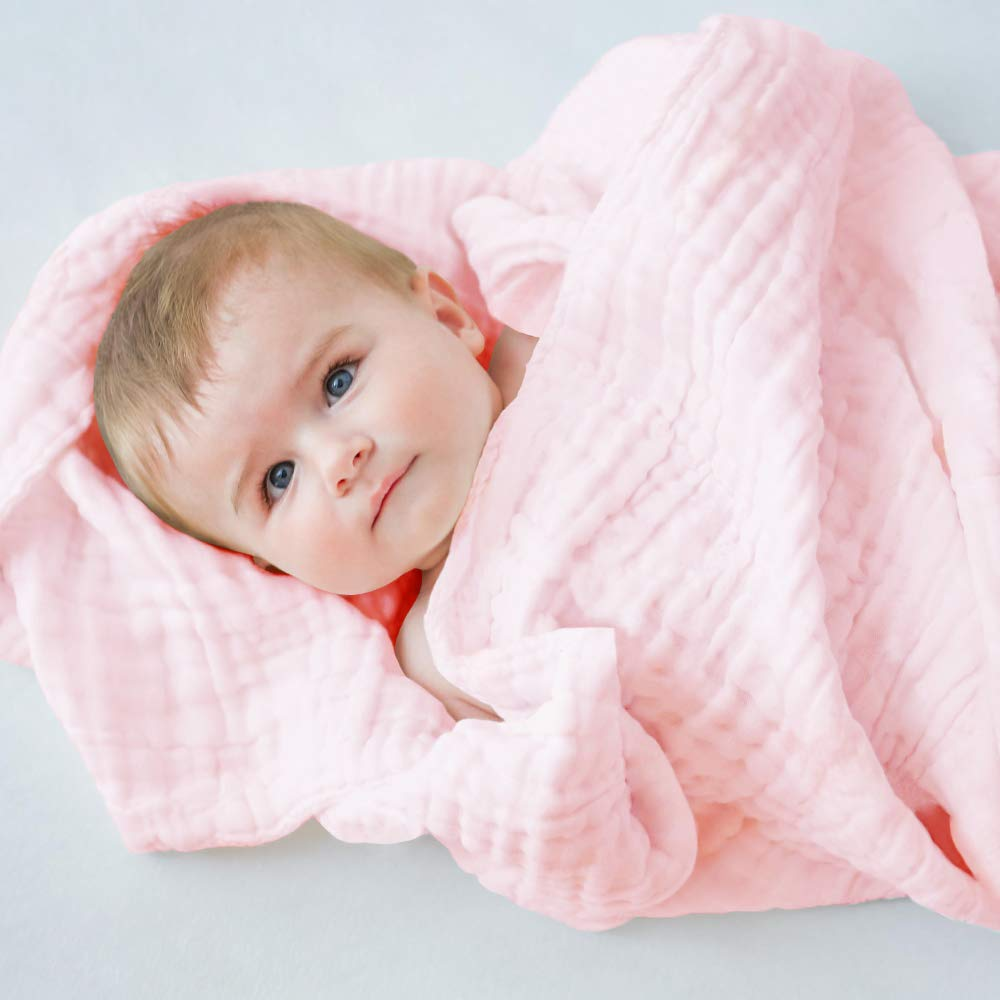 LifeTree Toalla de Ba/ño para Beb/é 6 Capas Suaves Muselina Algodon Mantas 100x100 cm Mantitas para Bebes