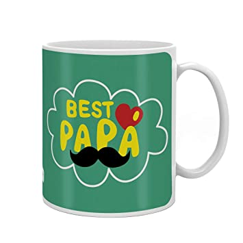 Indigifts Father Birthday Gifts Best Papa Quote Green Coffee Mug 330 Ml