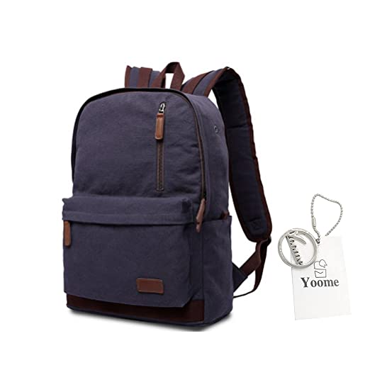 Amazon.com  Yoome Simple Durable Canvas Backpack Rucksack School Backpacks  for Teens Laptop Dayback Travel College Bags for Men Hiking Weekend Bag -  Khaki  ... 303cd29d63544