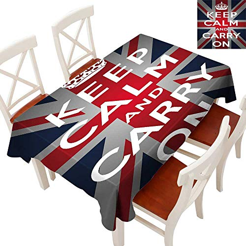 "Anyangeight Union Jack Flow Spillproof Fabric Tablecloth Keep Calm and Cary On Quote Crown Figure United Kingdom Britain Flag Tablecloth Thick Original RestaurantNavy Blue Red White 60"" × 120"""