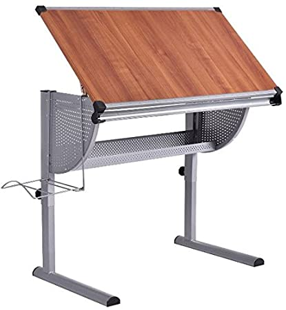Ku0026A Company Adjustable Drawing Desk Rolling Drafting Table Tempered Glass  Top Art Craft New Architect Costway