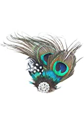 Kobwa(TM) Cute Peacock Feather Hair Clip Hair Brooch For Evening Dress with Kobwa's Keyring