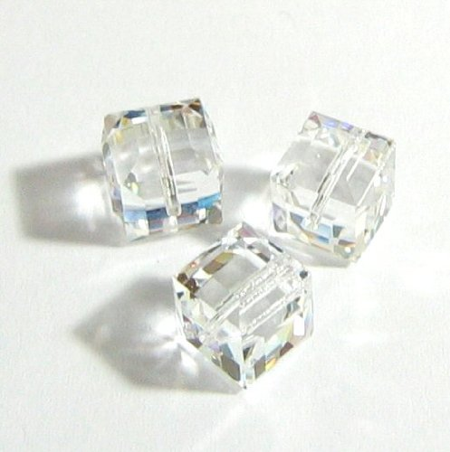 4 pcs Swarovski Crystal 5601 Cube Bead Spacer Clear 6mm/Findings/Crystallized ()