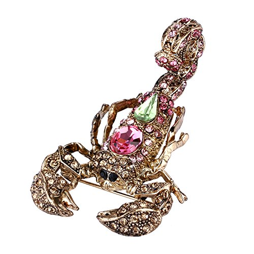 EVER FAITH Crystal Vintage Style Scorpion Animal Brooch Pink w/Apple Green Antique - Brooch Crystal Apple
