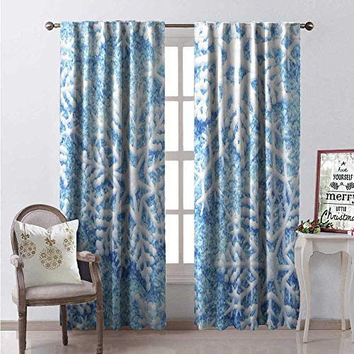 - Hengshu Snow Room Darkening Wide Curtains Snowflake Crystallized Illustrations in Merry Christmas Seasonal Symbolic Snow Frost Decor Curtains by W96 x L84 Multicolor