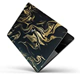 Marble Pattern Design Skinz Premium Full-Body Cover Wrap Decal Skin-Kit for the MacBook 13'' Pro with Retina Display (A1502/A1425) - Black & Gold Marble Swirl V7