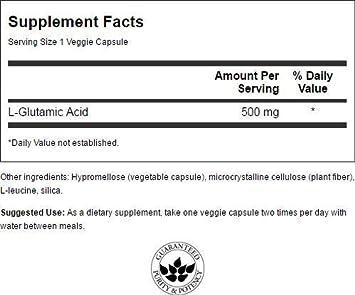 Swanson Glutamic Acid 500 mg 60 Veg Caps 4 Pack