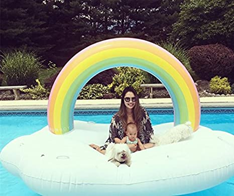 1581/5000 Flotador inflable de la piscina de la isla del arco iris, juguetes divertidos inflables gigantes de la fiesta de la piscina Vacaciones al aire ...